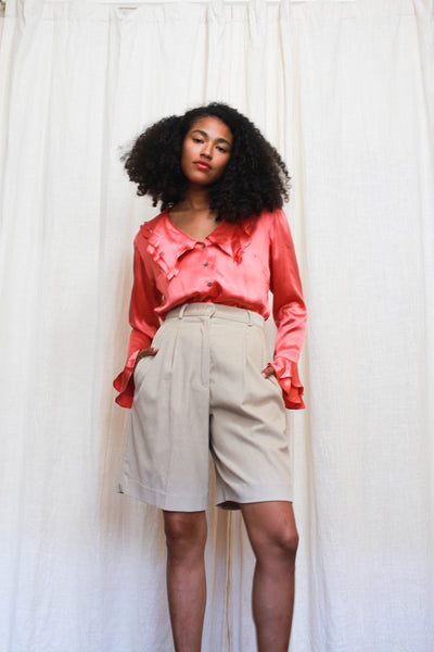 1980s Beige Corduroy High Waist Shorts