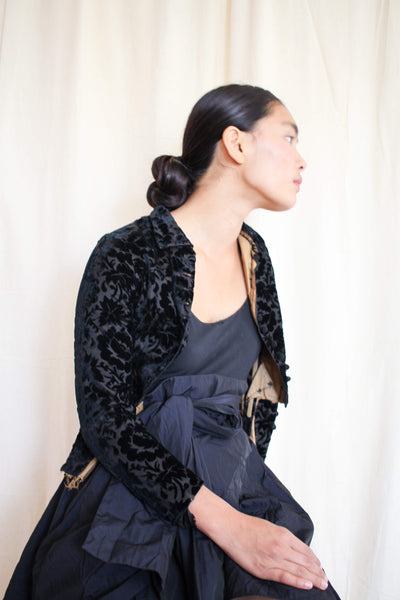Antique Black Embossed Velvet Corset Jacket