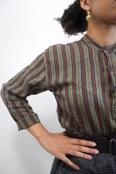 1980s Linen Striped Tunic