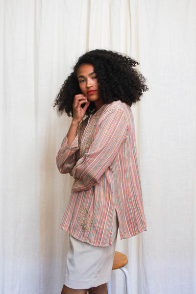 1980s Striped Cotton Moroccan Tunic