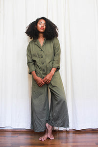 1970s Olive Cotton Wide Leg Jumpsuit