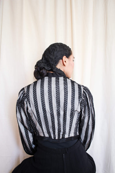 Antique Victorian Rare Mixed-Lace Striped Corseted Bodice