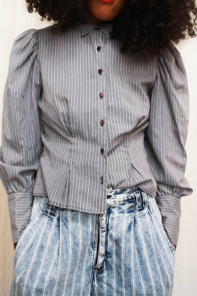 1970s Pinstriped Puff Sleeve Cotton Blouse