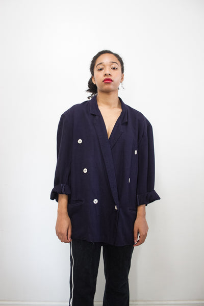 1980s Deep Violet Cotton Boxy Cotton Blazer