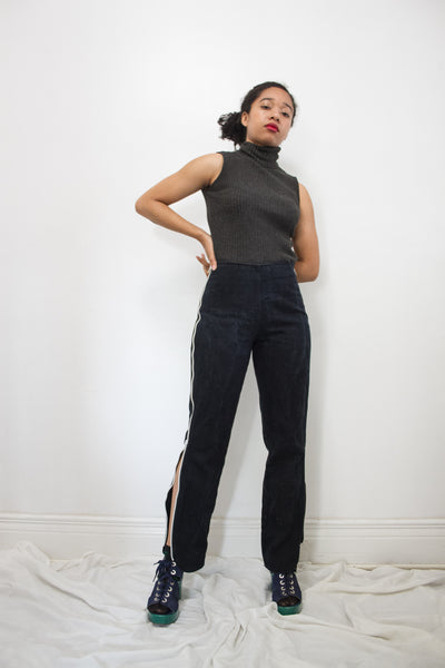 1970s Black Overdyed Zip Up Jeans