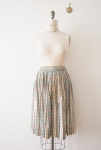 Sea Green Tile Print Midi Skirt