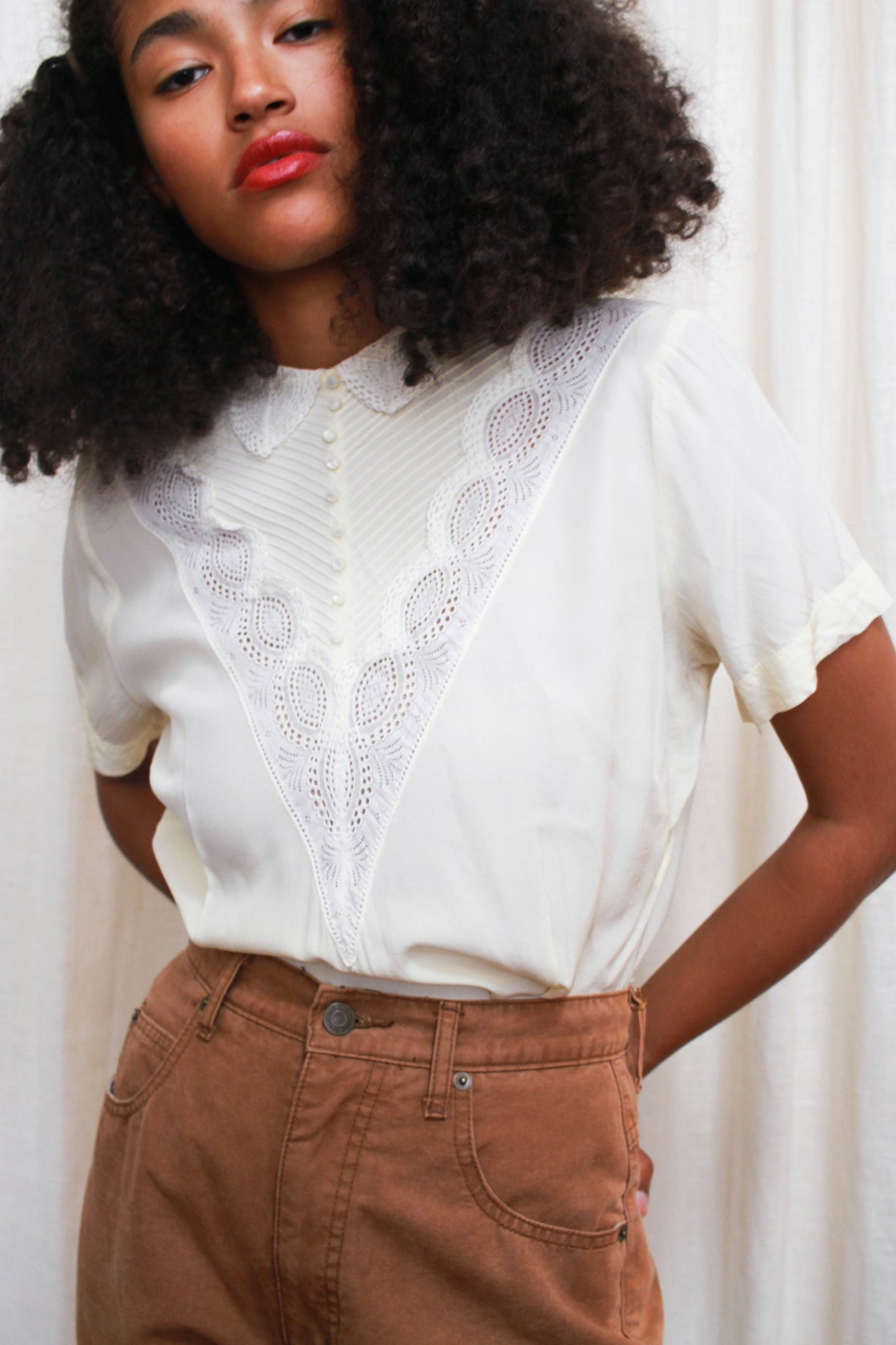 1950s Cream Lace Paneled Blouse