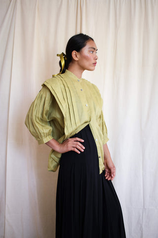 1980s Japanese Linen Chartreuse Blouse