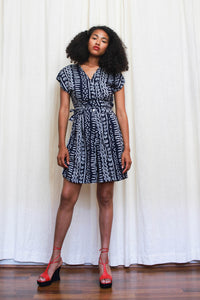 1980s Mudcloth Print Rayon Two Piece Short Set