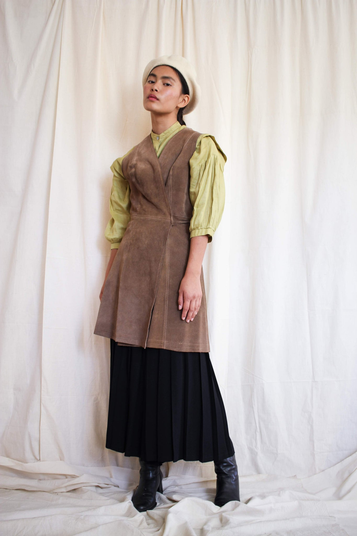 1970s Desert Suede Wrap Dress