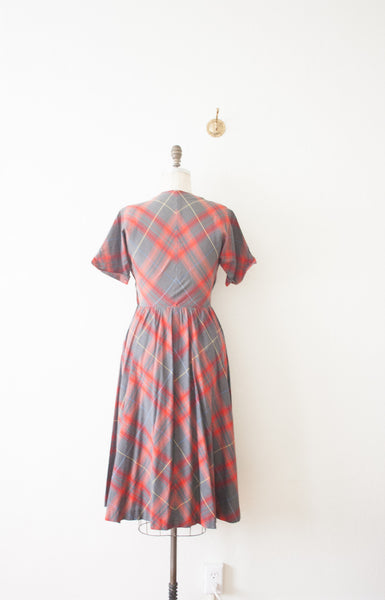 Grey Red Plaid Cotton Dress