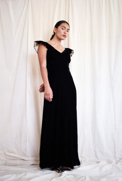 1930s Black Velvet Cape Sleeve Gown