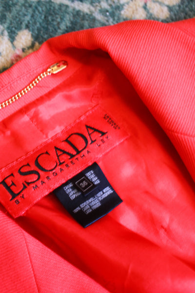 1980s Red ESCADA Wool Skirt Suit