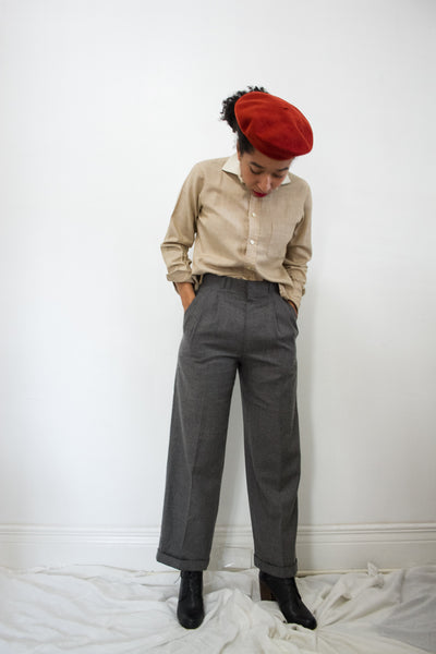 1970s Pleated Grey Wool Trousers