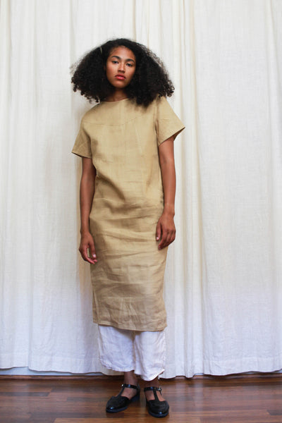 1970s Beige Linen Sack Dress