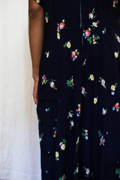 1940s Blue Floral Rayon Crepe Dress