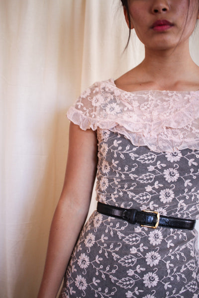 1930s Alencon Lace Pink Dress