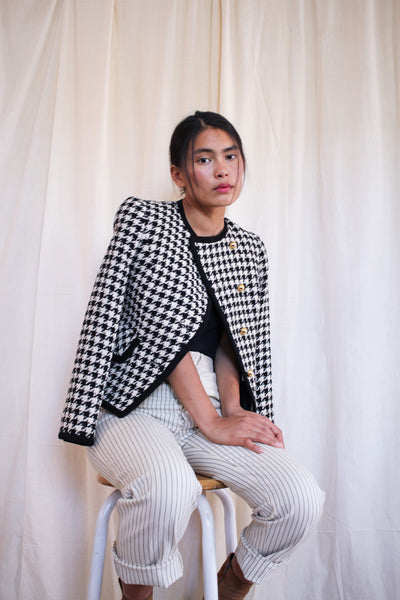 1980s Tweed Houndstooth Blazer