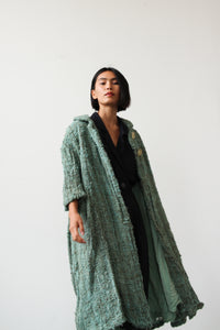 1950s Teal Woven Speckled Swing Coat