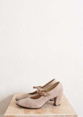 Beige Grey Suede Strap Pumps