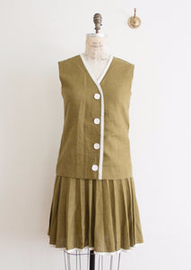 Olive Sleeveless Pleated Dress