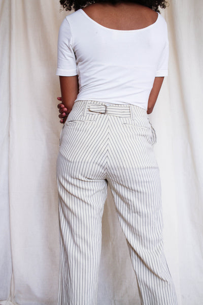 1920s Tailored Men's Wool Striped Trousers