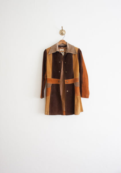 Gassy Jack Patchwork Suede Dress Coat