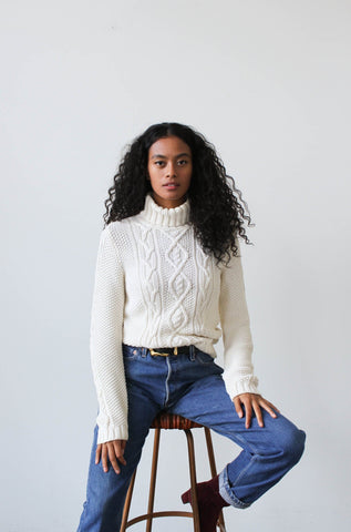 1990s Ralph Lauren Cream Cable Knit Sweater