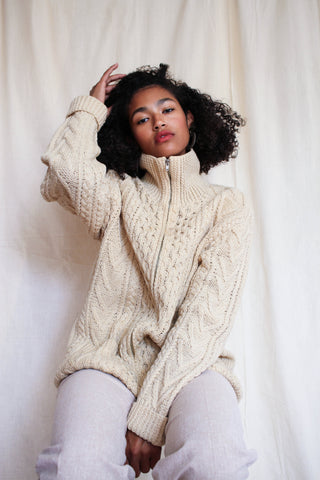 1950s Handknit Wool Irish Sweater