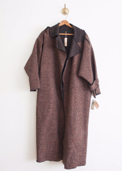 Mauve Speckled Wool Duster Coat