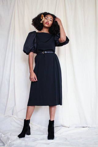 1970s Rayon Puff Sleeve Black Dress