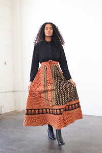 1970s Indian Multi Block Print Wrap Skirt