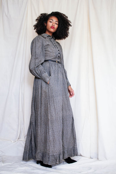 Antique Black Calico Dress