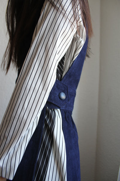 1970s Striped Two-Toned Dress