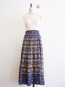 Multicolored Cotton Indian Wrap Maxi Skirt
