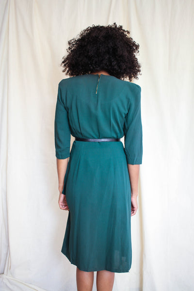1940s Forest Green Draped Rayon Dress