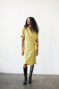 1980s Deadstock Chartreuse Silk Wrap Dress