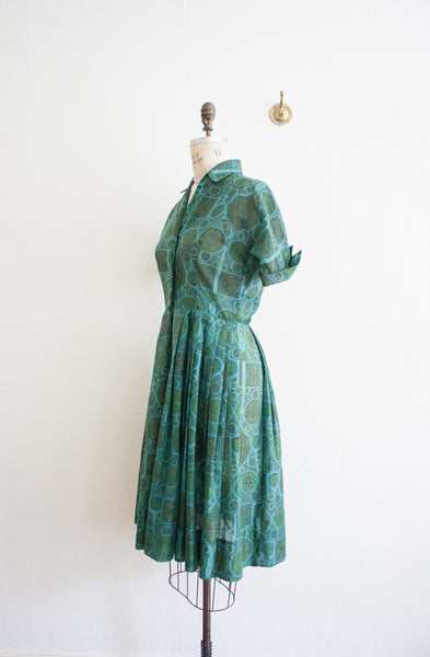 Emerald Print Day Dress