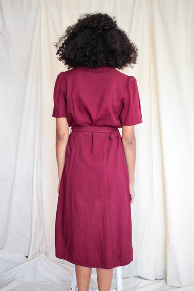 1940s Maroon Studded Cotton Day Dress