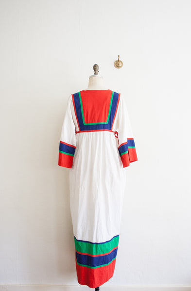 Primary Color Block Cotton Long Dress