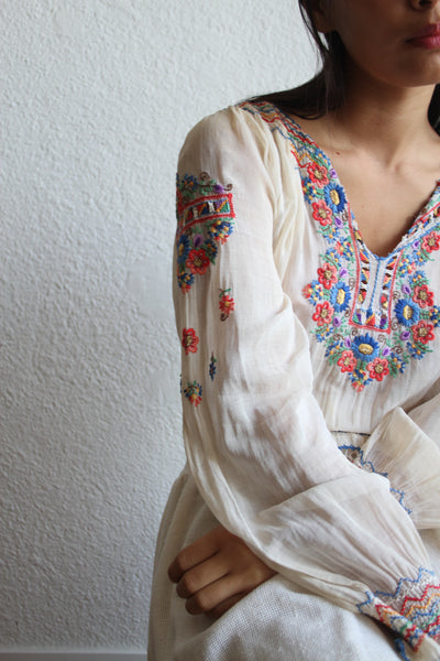 1930s Hungarian Embroidered Long Sleeve Blouse