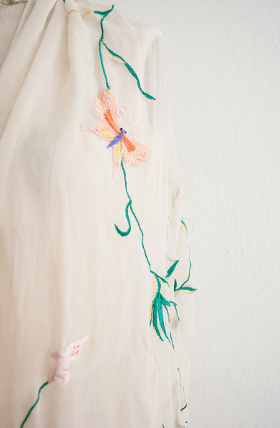 Cream Fringe Embroidered Chiffon Shawl