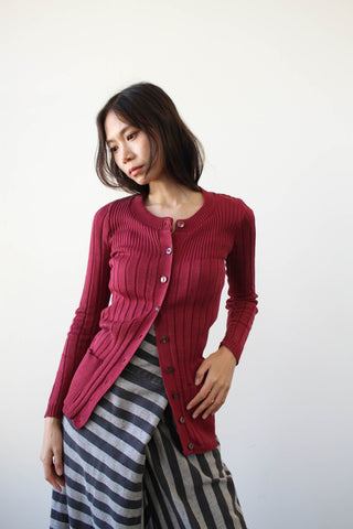1950s Berry Knit Ribbed Cardigan