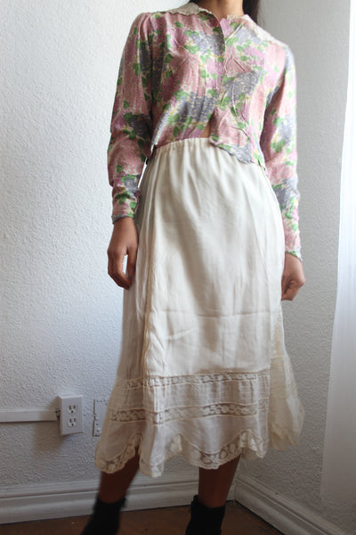 Edwardian Silk Chiffon Lace Cream Skirt