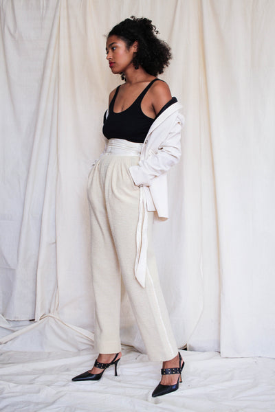 1970s Parisian Cream Wool Silk Pants