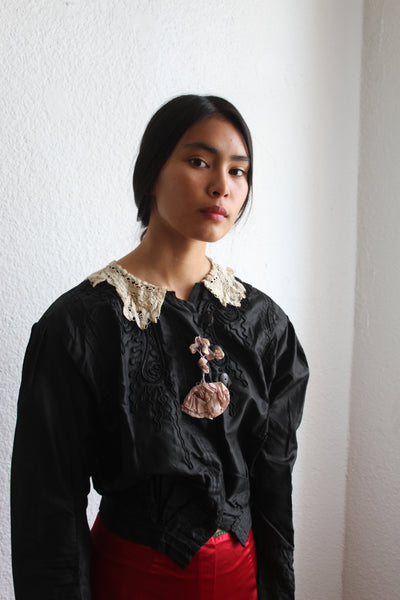 Edwardian Black Silk Soutache Blouse