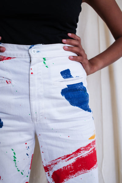 1980s Paint Splatter High Waist Dungarees | 28""