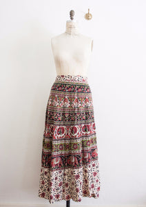 Indian Cotton Print Wrap Maxi Skirt