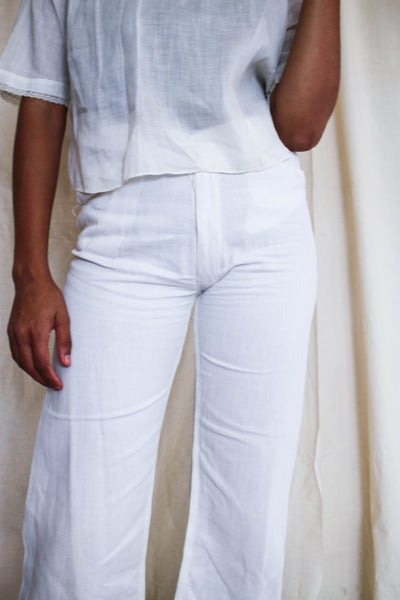 1930s Linen White Buttonfly Crop Pants | 26