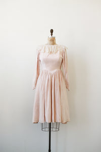 1950s Pale Pink Velvet Collared Dress
